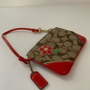 Coach Signature Brown Red Appliqué Flower Wristlet